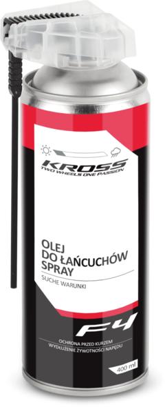 Olej w sprayu do łańcuchów Kross F4 na suche warunki 400 ml