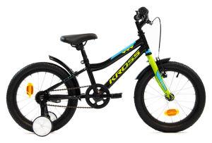 """Rower dziecięcy Kross Racer 3.0 16"""" czarno-limonkowo-niebieski"""