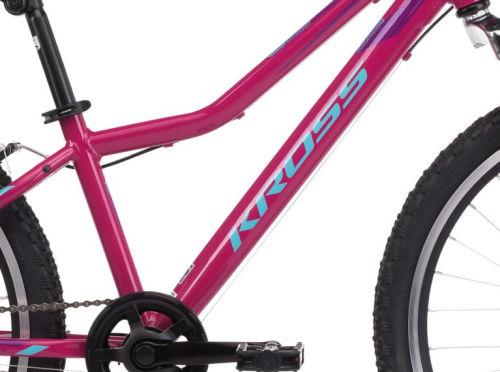 """Rower młodzieżowy Kross Lea JR 1.0 SR 24"""" różowy niebieski fioletowy"""